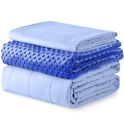 YnM Weighted Blanket and Duvet Covers — Hot and Cold Duvet Cover Set (3 Pieces) — (Blue, 60''x80'' 18lbs), Suit for One Person(~170lb) Use on Queen/King Bed