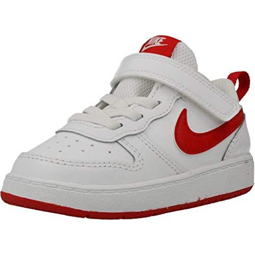 Nike Court Borough Low 2, Scarpe da Basket Boy Bambino, Bianco/Rosso università, 25 EU