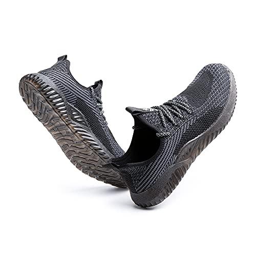 Zapatos de Seguridad Hombre Mujer Trabajo Ligeras Calzado de Seguridad Deportivo Comodo con Punta de Acero Negro Gris Azul Verde Talla 36-48