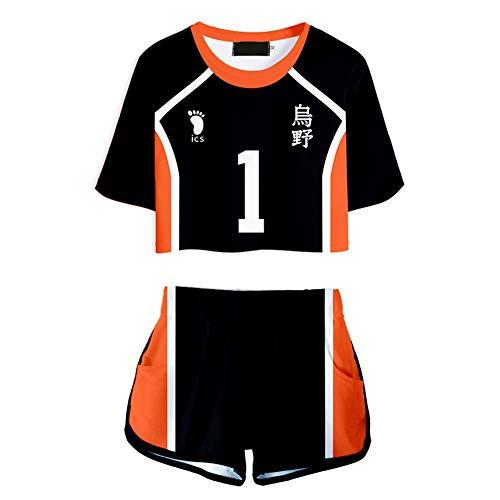 Saicowordist Haikyuu Disfraz de cosplay, camiseta corta y pantalones cortos, conjuntos de 2 piezas, uniforme de voleibol Karasuno para mujeres y niñas