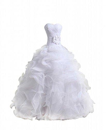 Bridal Mall Women's Organza Sweetheart Neckline Cascading Ruched Wedding Dress