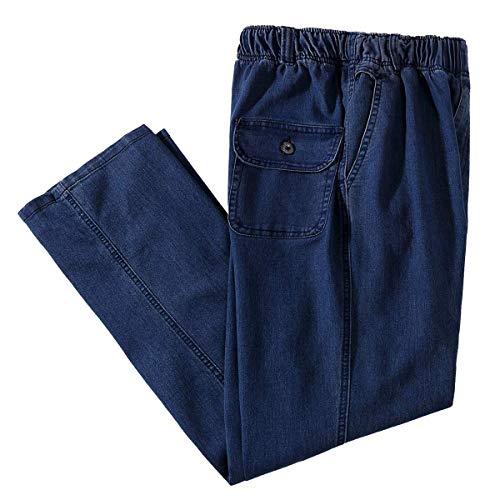 IDEALSANXUN Men's Elastic Waist Loose Fit Denim Pants Casual Solid Jeans Trouser (40, Dark Blue)