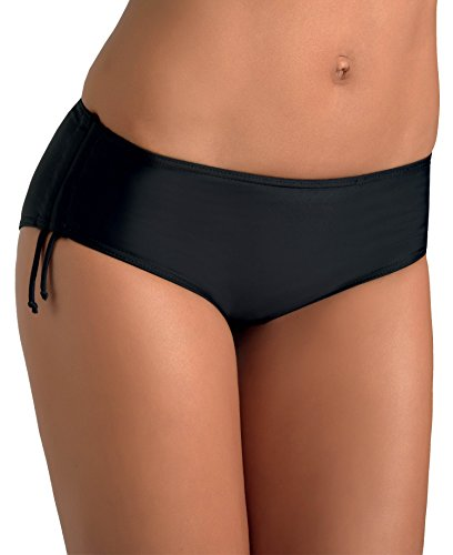 Gwinner Höschen Badehose Bikini Hose Slip Damen - zum Binden - elastisch - Schutz vor UV und Chlor - Strand, Meer, Schwimmbad - Hiphugger, schwarz, 44