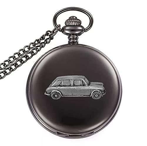 Classic Car Princess Vanden Plas 1300 ref12 - Reloj de bolsillo de cuarzo con diseño de efecto de peltre en una caja negra pulida
