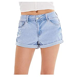 Women's Casual Summer Mid Rise Rolled Ripped Pockets Light Blue Jean ...
