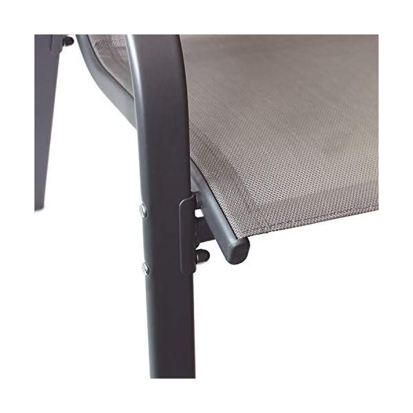 Wohaga® 6er Set Stapelstuhl 'New York', Textilenbespannung Anthrazit, Stahlgestell pulverbeschichtet, stapelbar…
