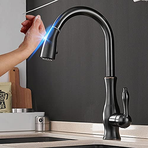 Grifo de cocina con sensor extraíble de tres colores, mezclador de grifo de Control táctil sensible negro para cocina, grifo mezclador de cocina táctil