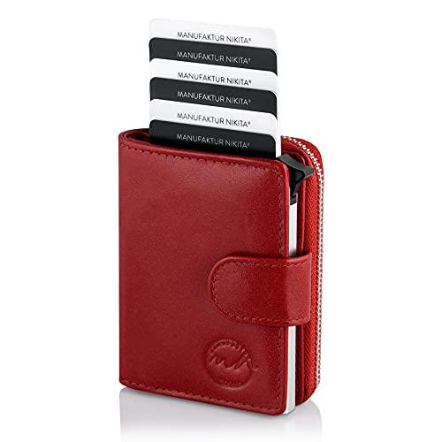 302 - Tarjetero de piel auténtica para hombre y mujer, con caja de regalo, rojo, small, Cartera con protección RFID
