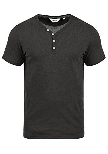 !Solid Dorian Herren T-Shirt Kurzarm Shirt Mit Grandad-Kragen, Größe:L, Farbe:Dark Grey Melange (8288)