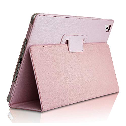 iPad 9.7 2018/2017 Case, FANSONG Bifold Series Litchi Stria Ultra Thin Magnetic PU Leather Smart Cover [Flip Stand,Sleep Function] Universal for Apple iPad Pro/Air / Air2 (9.7 inch), Pink