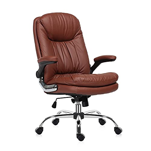 YAMASORO Big and Tall Ergonomic High Back Executive Office Chair Swivel Leather Office Computer Gaming Desk Chair with Flip Up Arm Rests Brown