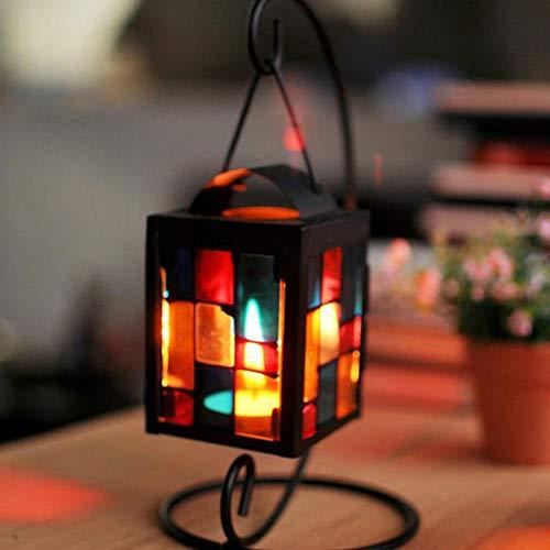 Retro Ferro Candela Lanterna Doppio Gancio Vetro Macinato Portacandele Lampada A Sospensione Vento Luce per la Casa Decor