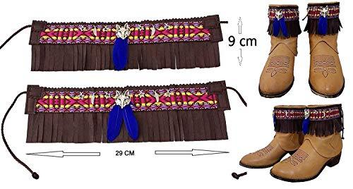 Es deckt Stiefel ab Country Land Cowgirl Damen Ethnisch Kunstleder, braun Federn Ornament...