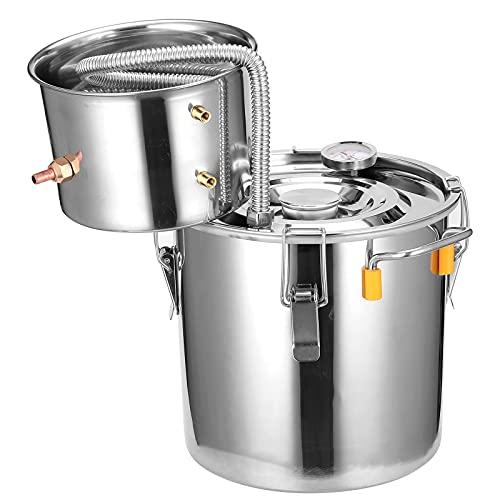 AIZYR Destilador De Alcohol Cervecero con Termómetro, Fabricante De Vino Humeante Caldera De Vinificación para Licor De Brandy De Whisky Equipo De Elaboración De Cerveza,30l