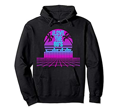 I Love 80s Neon Grid and Sunset Synthwave Hoodie, Unisex