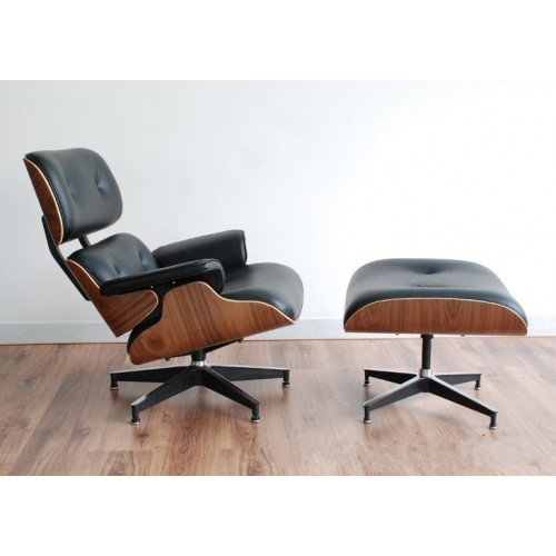 Mid Century Modern Classic Plywood Design Replica Style Walnut with Premium Top Grain High Grade Black Real Leather Lounge Chair & Ottoman