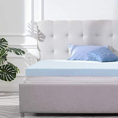 RECCI 2.5-Inch Mattress Topper Twin, Pressure Relief Memory Foam Mattress Topper for Back Pain, Gel Infused Mattress Topper Cooling & Breathable, CertiPUR-US (Twin Size)