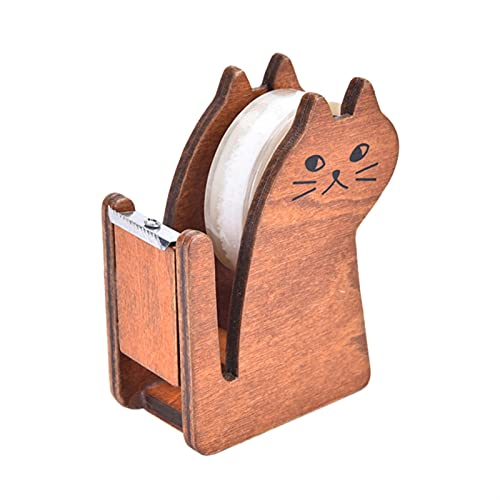 HYMD Heavy duty dispenser Cat wooden tape Dispenser holder Office School Supplies (Color : B, Size : 8.7x7x3.7 cm)