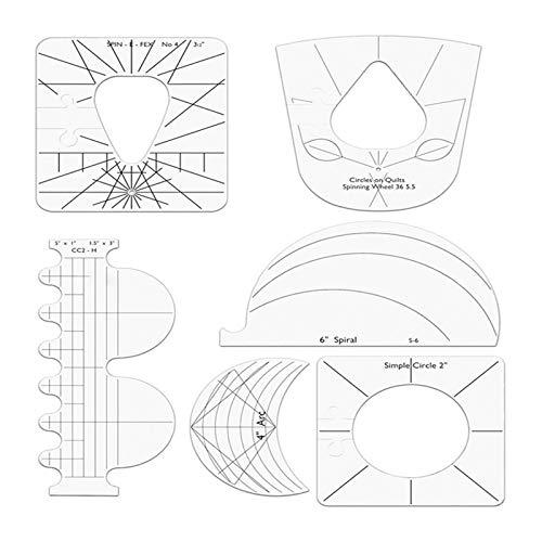 starte 6PCS Quilting Template Set, Freihand Quilten Vorlage Acryl Quilting Frames Quilten Lineale Neue Lineal Vorlage Sampler Set Für Haushaltsnähmaschine