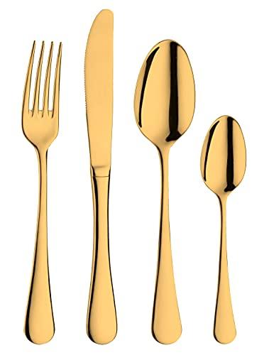 Pintinox Set da 24 Posate in Acciaio Inox, Colore: Oro, con Scatola Regalo, Made in Italy (6 persone)
