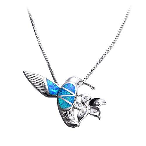Collar de plata de ley S925 con colgante de pájaro azul