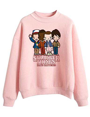 VERROL Felpa Stranger Things per Donna, Stranger Things Felpa Friends Dont Lie Stampa di Lettere Tinta Unita Collo Alto Manica Lunga Pullover per Ragazza