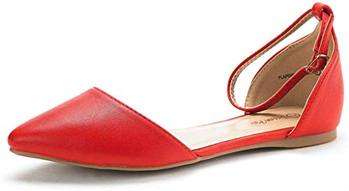DREAM PAIRS Women's Flapointed-New Red Pu D'Orsay Ballet Flats Shoes - 8.5 M US