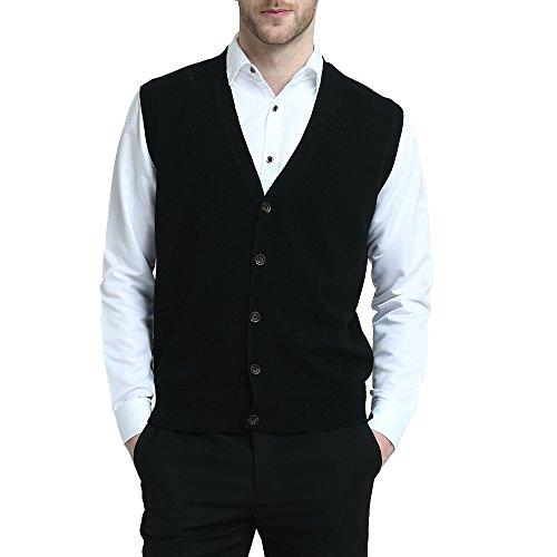 Kallspin Pullunder Weste für Männer aus Kashmir-Wolle V Ausschnitt mit Knopfverschluss (Schwarz, XL)
