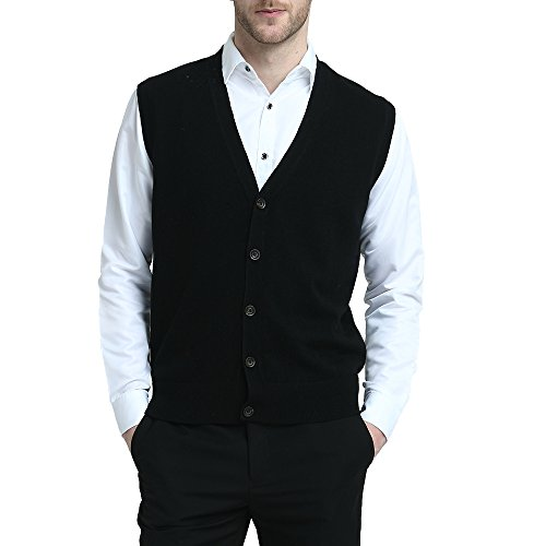 Kallspin Relaxed Fit Mens V-Neck Vest Sweater Cashmere Wool Blend Front Button (Black, XL)