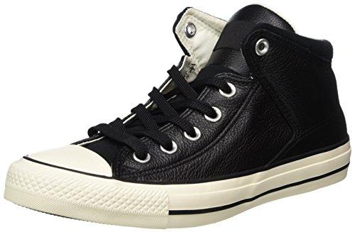 Converse Mens Chuck Taylor All Star Street Hi  Tumbled Leather Black/Black/Egret Sneaker  12 Men  14 Women