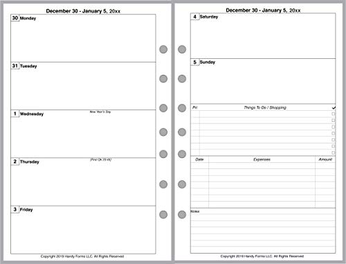 2020 Weekly & Monthly Planner for 7-Ring Notebooks by Franklin-Covey, Day Runner, Day-Timer, and Others. 2 Pages Per Week, 2 Pages Per Month, Week Starts on Monday. Style C, Without Lines.
