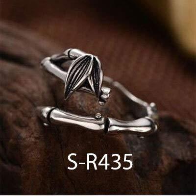 WRRPS Arete 925 Anillos de Plata esterlina Vintage Tamaño Hecho a Mano 18mm Anillos Ajustables para Hombres Mujeres Silver Jewelry para decoración (Gem Color : S R435, Ring Size : Resizable)