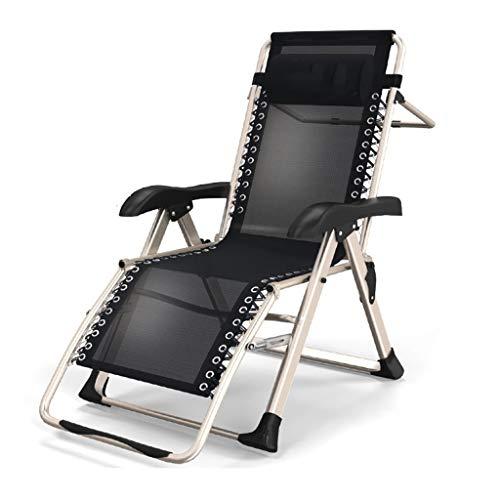 YYHSND Silla reclinable Silla de jardín reclinable Tumbona Tumbona reclinable de Playa Negro Resistente a la Intemperie Silla Plegable