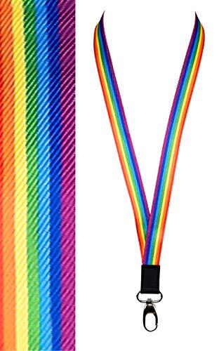Lanyard   Cooles, hochwertiges Schlüsselband für Schlüsselanhänger/ID´s/Ausweis/Namensschild   Regenbogen