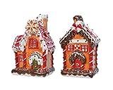 Teelichthalter Keramik Lebkuchenhaus 16 cm x 1 Stück Sortiert Teelichtgläser orange rot // M- Set mit 2 Teelichthaltern aus Keramik, Dekoration für Zuhause, 16 cm