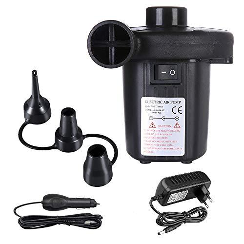 Kyerivs Elektrische Luftpumpe, Luftmatratze-Pumpe für aufblasbares Explosionspool-Floßbett-Boots-Spielzeug, Schnell-Füllen-Wechselstrom-Inflator-Deflator mit 3 Düsen, Wechselstrom 220V