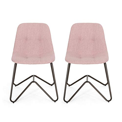 Adela Fabric Dining Chair, Light Blush and Bronze