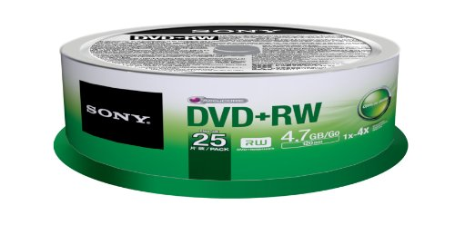 Sony 25DPW47SP DVD+RW 4X 4.7GB Spindle Rewritable DVD, 25-Pack