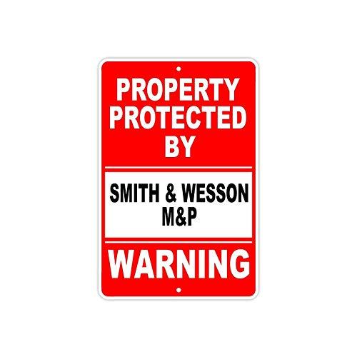 Sary buri Protected by Smith & Wesson M&P Gun Pistol Rifle Revolver Ammo Wandkunst Garage Club Bar Dekoration