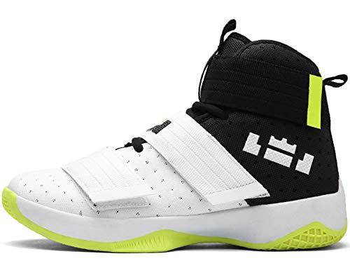 GNEDIAE Herren GNE2089 High-Top Basketball Schuhe Outdoor Anti-Rutsch Sneaker Atmungsaktiv Ausbildung Turnschuhe Sportschuhe Laufeschuhe Verschleißfeste Dämpfung Basketballstiefel Weiß 43 EU