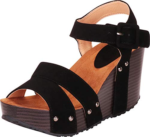 Cambridge Select Women's Strappy Studded Chunky Platform Wedge Sandal,8.5 B(M) US,Black NBPU