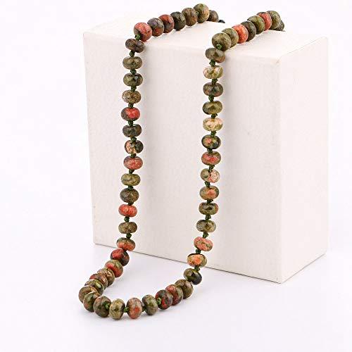 THTHT Naturstein Halskette Abacus Raupe Kurze Halskette Mode Lucky Cure Crystal Pullover Kette Lady Böhmischen Yoga Reiki Schmuck Charme, Blume Greenstone