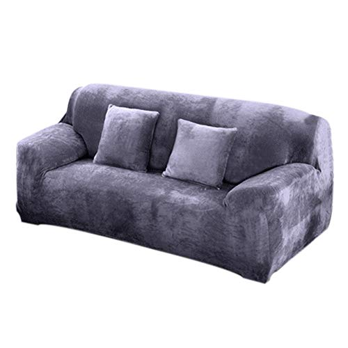 INMOZATA Sofa Cover High Stretch Soft Fur Velvet Sofa slipcovers Protector 1 2 3 Seater Couch Covers for L Shape Sofa Tub Chairs Love Seat, 195-230cm (Grey)