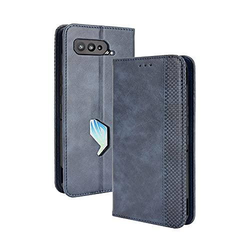 GOGME Leder Hülle für Asus ROG Phone 5 Hülle, Premium PU/TPU Leder Folio Hülle Schutzhülle Handyhülle, Flip Hülle Klapphülle Lederhülle mit Standfunktion und Kartensteckplätzen, Blau