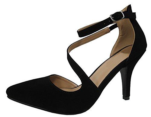 Cambridge Select Women's Closed Pointed Toe Buckled Crisscross Strappy Stiletto Mid Heel Pump (6.5 B(M) US, Black)