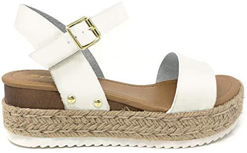 SODA CLIP Top Shoe Women's Open Toe Ankle Strap Espadrille Sandal (7.5 M US, White NEW)
