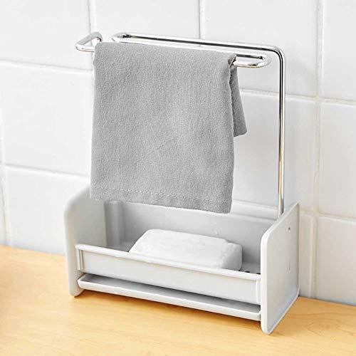 Soporte de esponja, organizador de cepillos de limpieza para fregadero de cocina, con bandeja de drenaje, toallero para colgar, estante de jabón, soporte para encimera de baño, extraíble