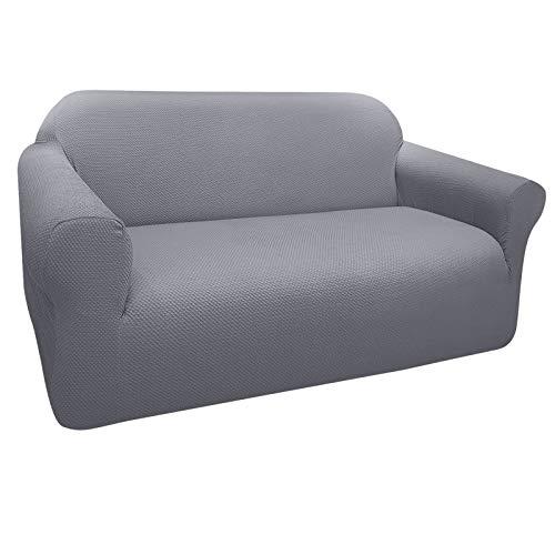 Granbest Dicker Loveseat Sofabezug, 2-Sitzer, stilvolles Muster, Sofa-Schonbezug, Stretch, Jacquard, Liebes-Sitzbezug für Wohnzimmer, Hund, Haustier-Möbelschutz (2-Sitzer, hellgrau)