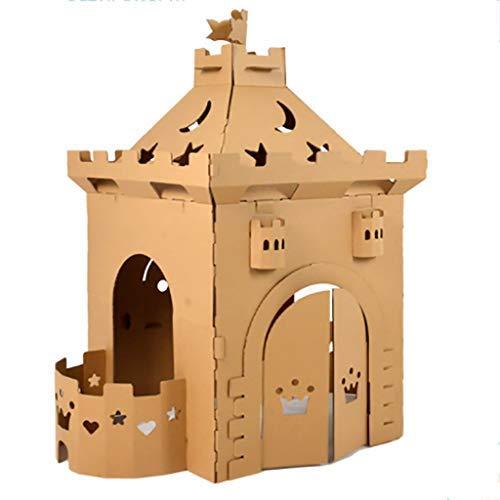 FSFF Playhouse Casas de cartón para Castillo, Manual de Bricolaje para niños, educación ecológica, Pintura, Juguete, Graffiti, Casas de muñecas, Regalo de Fiesta