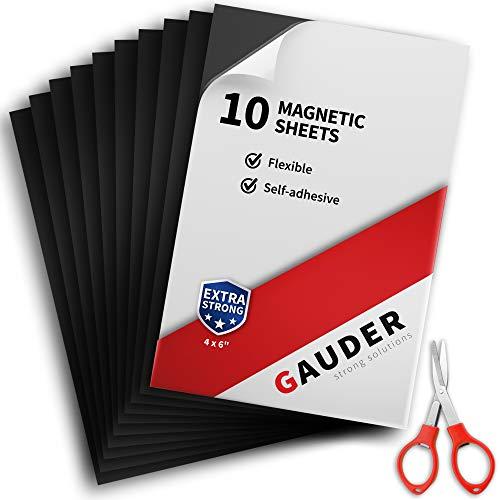 GAUDER Magnetfolie selbstklebend | Magnetische Folie schwarz | Für Fotos, Schilder & Postkarten (10 Stück)
